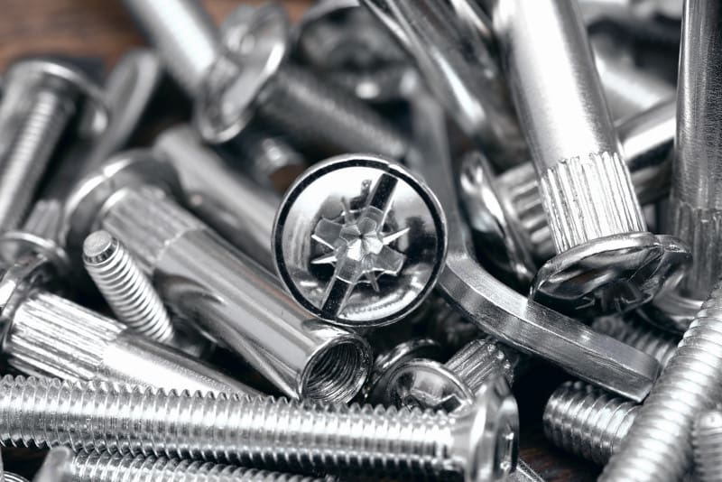 Shiny plated nails and bolts