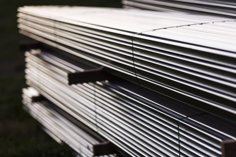 Stacked up plated metal sheets